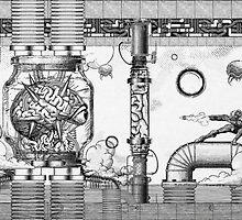 Vintage Metroid Mother Brain Engraving by barrettbiggers