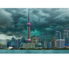 ☝ ☞Oriental Pearl Tower &BUILDINGS-PICTURE-PILLOW-TOTE BAG 东方明珠广播电视塔) IS A TV TOWER IN SANGHAI CHINA☝ ☞ Photographic Print