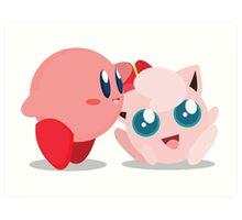 "Kirby and Jigglypuff ""Best Buds"" Vector Art Print"