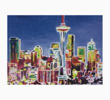 Neon Shimmering Skyline of Seattle With Space Needle  Kids Clothes