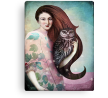 She and her Owl Canvas Print