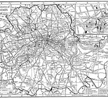 Vintage Map of London England (1911) by BravuraMedia