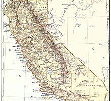 Vintage Map of California (1878)  by BravuraMedia