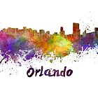 Orlando skyline in watercolor by paulrommer