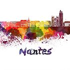 Nantes skyline in watercolor by paulrommer