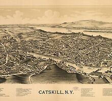 Vintage Pictorial Map of Catskill New York (1889)  by BravuraMedia