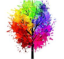 Rainbow Tree With Colour Splats Photographic Print