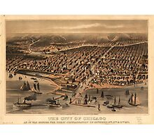 Vintage Pictorial Map of Chicago (1871) Photographic Print