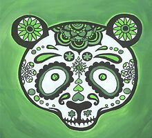 Sugar Skull- Green Panda by Annika Thurgood