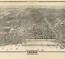 Vintage Pictorial Map of Chicago (1916) by BravuraMedia