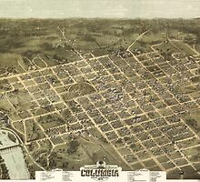 Vintage Pictorial Map of Columbia SC (1872) by BravuraMedia