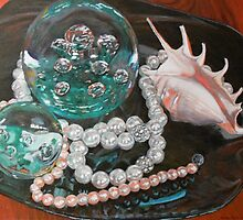 Paperweight and Pearls with shell by Jane Ianniello