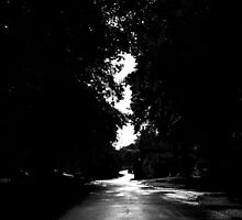 Black and White Road Landscape Scene by Emilie Crouch
