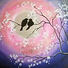 Love birds and blossoms by Faye Doherty