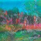 The mysticism of Hanging Rock VIC Australia on silk by Margaret Morgan (Watkins)
