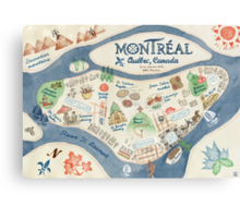 Map of Montreal, Canada Canvas Print