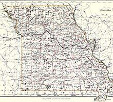 Vintage Map of Missouri (1883)  by BravuraMedia