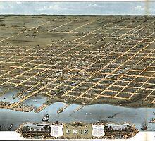 Vintage Pictorial Map of Erie Pennsylvania (1870) by BravuraMedia