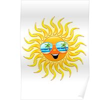 Summer Sun Cartoon with Sunglasses Poster