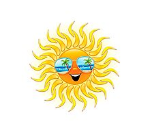 Summer Sun Cartoon with Sunglasses Photographic Print