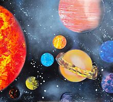 Spray Paint Art- Solar System by Annika Thurgood