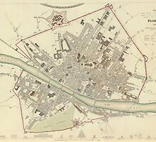 Vintage Map of Florence Italy (1835) by BravuraMedia