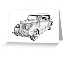 1936 Ford Phaeton Convertible Illustration  Greeting Card