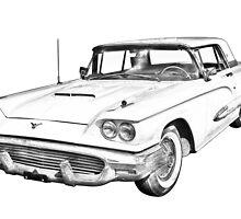 1958  Ford Thunderbird Car Illustration by KWJphotoart