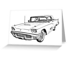 1958  Ford Thunderbird Car Illustration Greeting Card