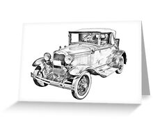 Model A Ford Roadster Antique Car Illustration Greeting Card