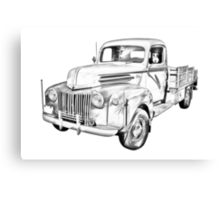 Old Flat Bed Ford Work Truck Illustration Canvas Print