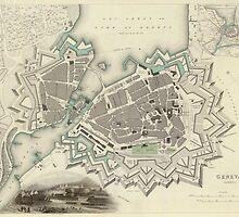 Vintage Map of Geneva (1841)  by BravuraMedia