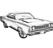 1968 Plymouth Roadrunner Muscle Car Illustration by KWJphotoart