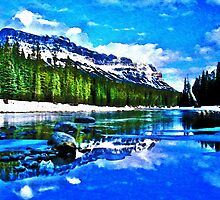 Bow river and Castle mountain by wild-canada