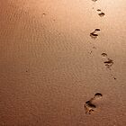 Footprints on Fistral Beach by ilikepetedotcom