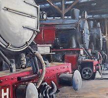 H Locomotives at Depot, Launceston, Tasmania by Michael Bessell
