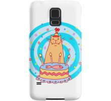 Birthday cat with a cake. Samsung Galaxy Case/Skin