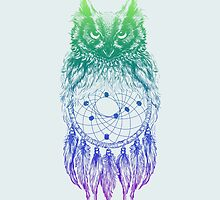 Dreamy Owl_Multi Blue by kellabell9