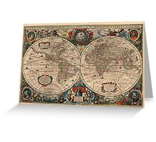 Vintage Map of The World (1641)  Greeting Card