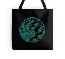 Traditional Teal Blue and Black Chinese Phoenix Circle Tote Bag