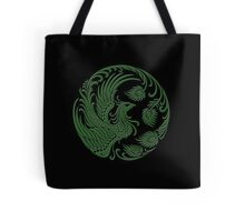 Traditional Green and Black Chinese Phoenix Circle Tote Bag
