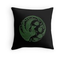 Traditional Green and Black Chinese Phoenix Circle Throw Pillow