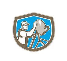 TV Satellite Dish Installer Shield Retro by patrimonio