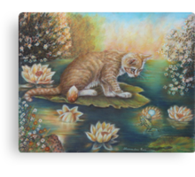 Whimsical Cat Art - Cat and the Prince Charming Frog Canvas Print