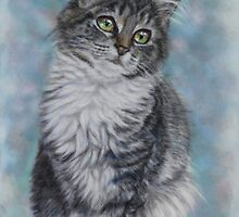 Cute Cat Art - Sweet Kitten Portrait by AlessandraArt