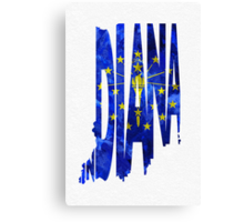 Indiana Typographic Map Flag Canvas Print