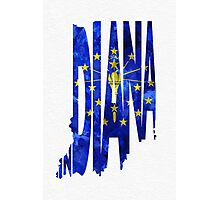 Indiana Typographic Map Flag Photographic Print
