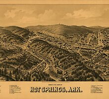 Vintage Pictorial Map of Hot Springs AR (1888) by BravuraMedia