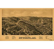 Vintage Pictorial Map of Hot Springs AR (1888) Photographic Print