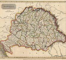 Vintage Map of Hungary (1817) by BravuraMedia